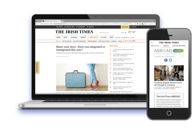 Contribly example Irish Times abroad